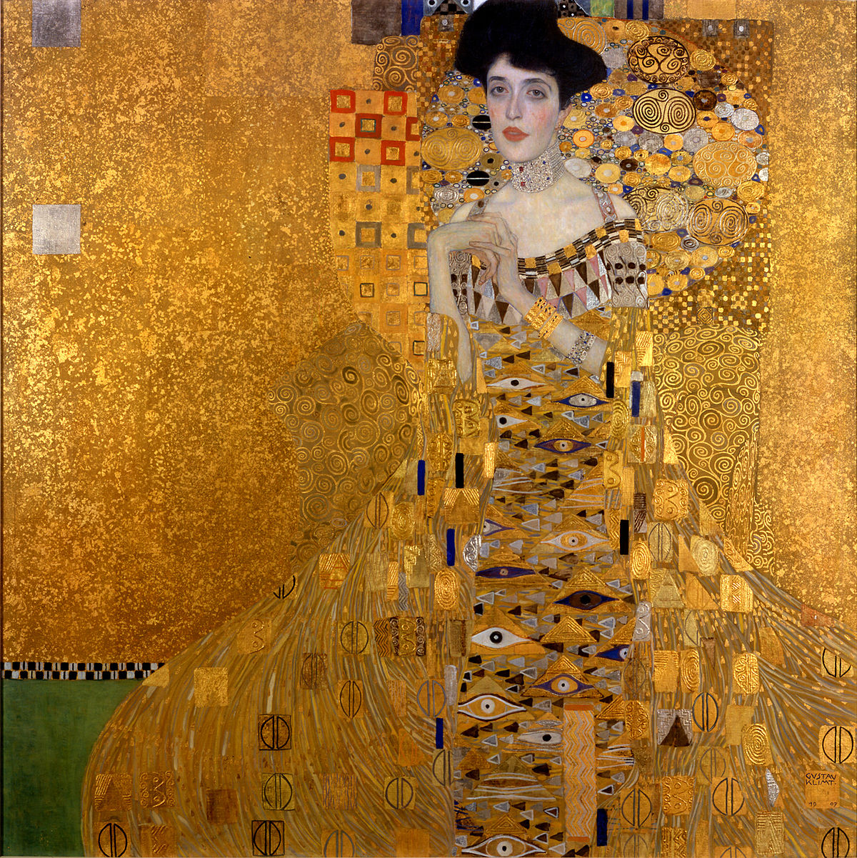 Gustav Klimt,  Portrait of Adele Bloch-Bauer I , 1907, Oil, silver, and gold on canvas.   Like many artists, Klimt painted the portraits of people in high society. The portrait was commissioned by the sitter's husband Ferdinand Bloch-Bauer, an Austrian Jewish banker and sugar producer. A second portrait of Adele was completed in 1912. Adele died in 1925, years before the Nazis stole the portrait in 1941.
