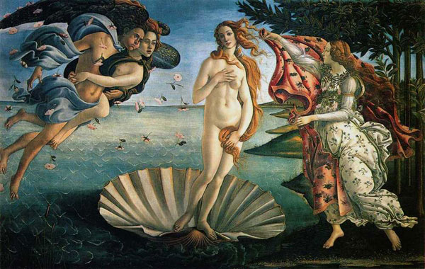 Sandro Botticelli,  Birth of Venus , 1486.  Commissioned by Cosimo de'Medici, head of the Medici banking family and a de facto ruler of Florence.