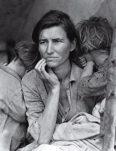 Dorothea Lange,  Migrant Mother, Nipomo, California,  February 1936.  Lange was one of many artists who worked for the New Deal's Public Works of Art Project (PWAP) during the Great Depression. She was hired by the Resettlement Agency (RA) and Farm Security Administration (FSA) to document the problems of farmers.