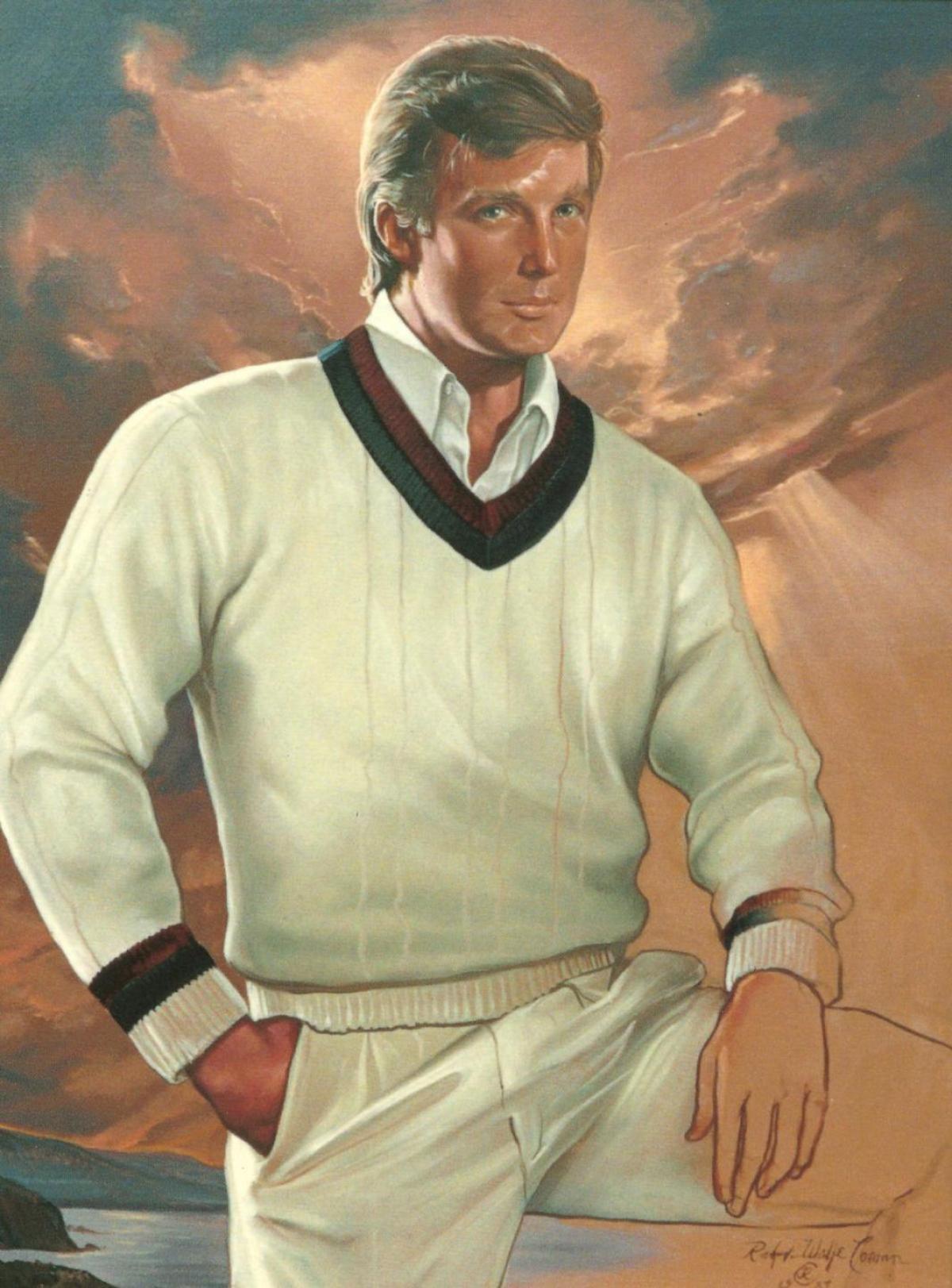 Ralph Wolfe Cowan's original portrait of Donald Trump,  The Entrepreneur (original version with unfinished hand), 1987