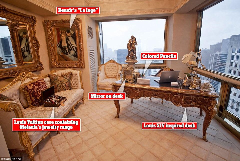 View of Melania Trump's office, fake Renoir's  La Loge  in the corner.