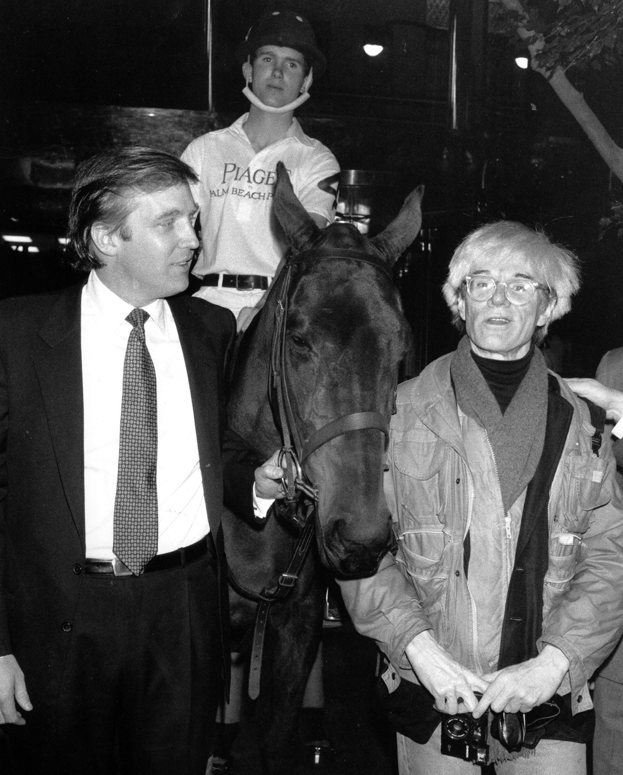 Donald Trump with Andy Warhol and polo pony - image by Mario Suriani