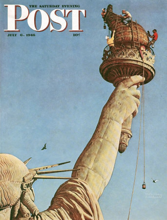 Original Saturday Evening Post cover with Norman Rockwell's  Working on the Statue of Liberty .