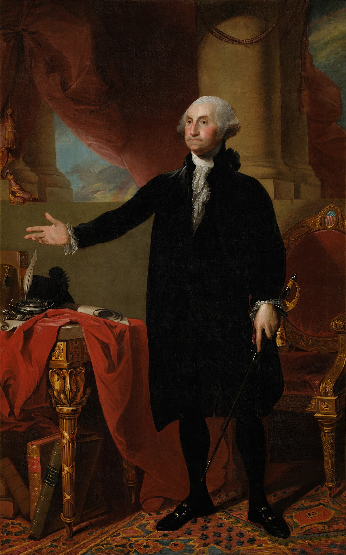 Gilbert Stuart,  George Washington (Lansdowne portrait of George Washington) , 1796. This is the portrait Dolley Madison saved from the White House in 1814.