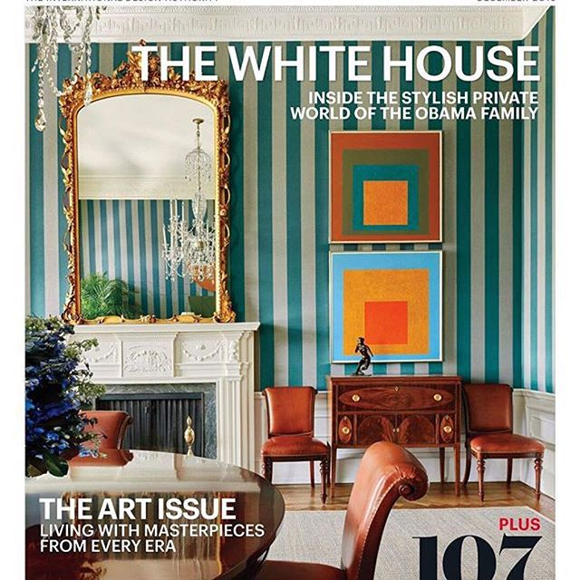 Two Josef Albers prints in the White House. Cover of Architectural Digest during the Obama administration.