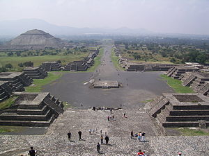 Teotihuacán, located northeast of Mexico City, Mexico. View of the Avenue of the Dead and the Pyramid of the Sun, from the Pyramid of the Moon.