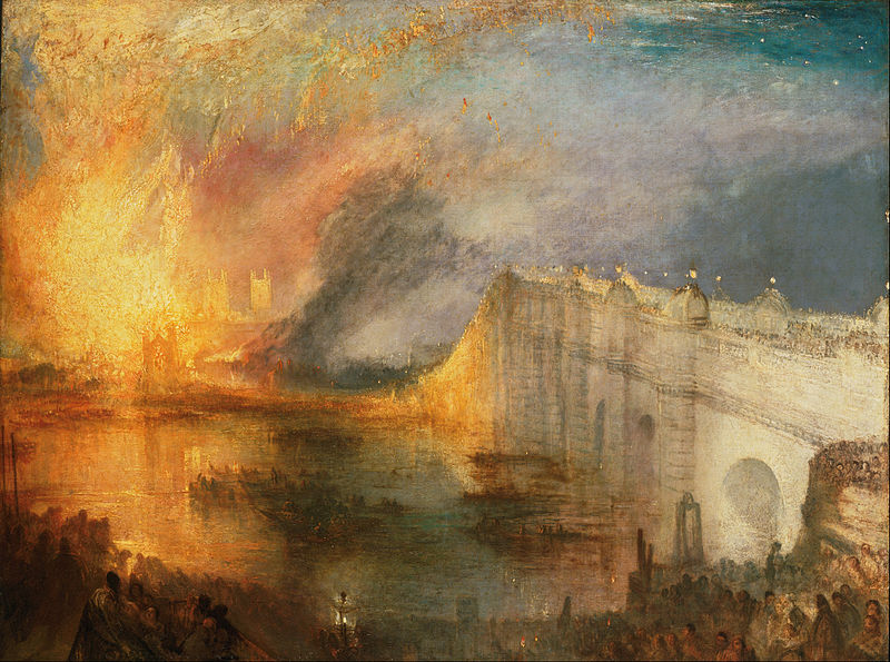 J.M.W. Turner,  The Burning of the House of Lords and Commons, 16th October 1834,  oil on canvas