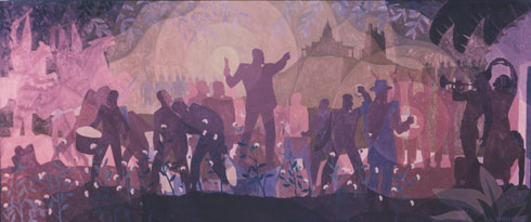 Aaron Douglas,  Aspects of Negro Life: From Slavery Through Reconstruction , 1934, oil on canvas, mural for Schomburg Center for Research in Black Culture, The New York Public Library