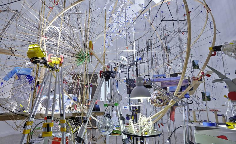 Sarah Sze,  Triple Point , 2013. Sze displayed this at the 55th Venice Biennale in the U.S. Pavilion.