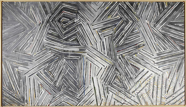 Jasper Johns,  Between the Clock and the Bed , 1982-83, encaustic on canvas