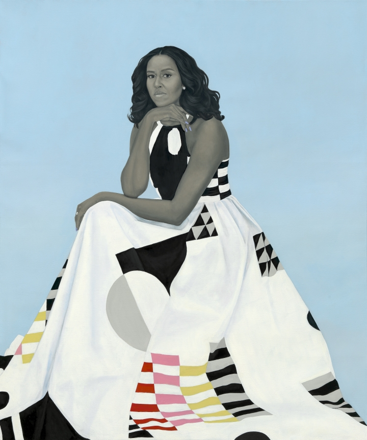 Amy Sherald,  Michelle LaVaughn Robinson Obama , 2018. Oil on linen.