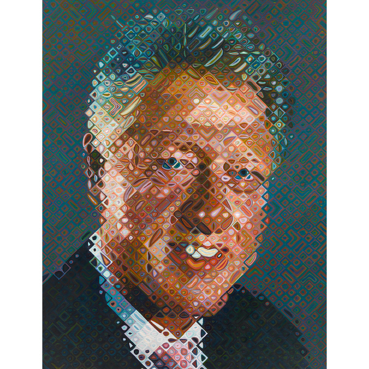 Chuck Close,  Portrait of William J Clinton , 2006, oil on canvas