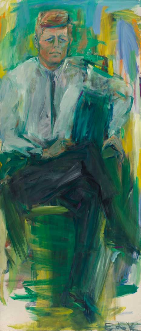 John F. Kennedy  by Elaine de Kooning, Oil on canvas, 1963