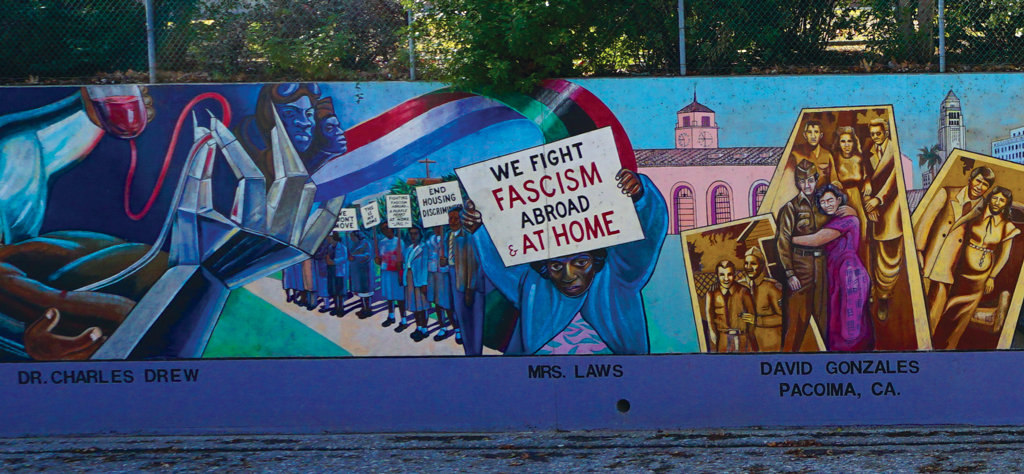 "Detail of Judith F. Baca,  Great Wall of Los Angeles  (1976–), showing ""Mrs. Laws,"" fighting against racially restrictive housing covenants in South Central Los Angeles."