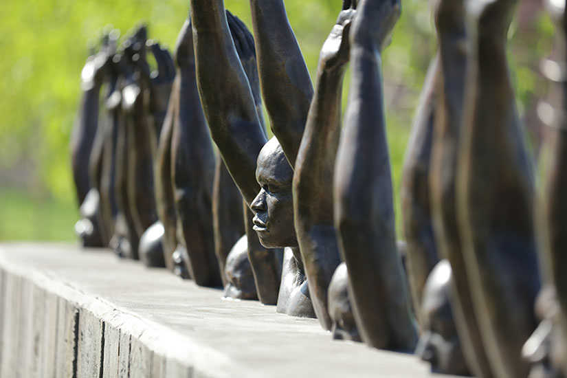 Raise Up  sculpture by Hank Willis Thomas at The National Memorial for Peace and Justice in Montgomery, AL.