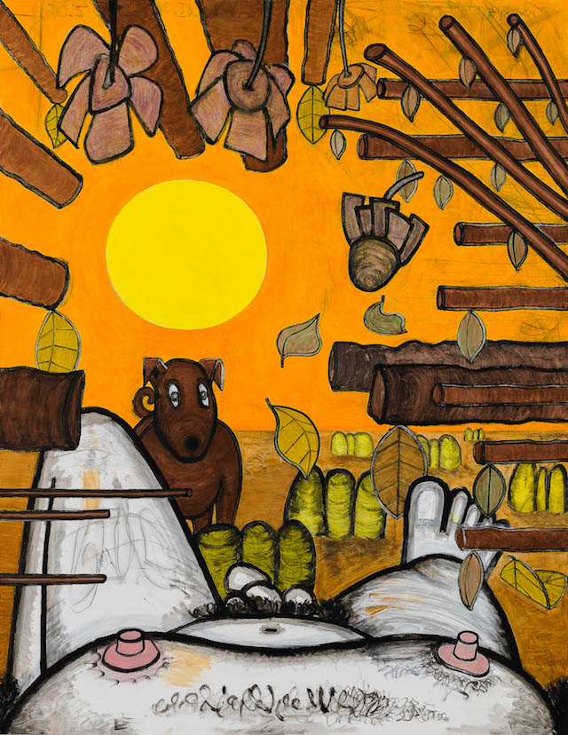 Carroll Dunham,  Now and Around Here (3) , 2015, mixed media on linen, 88 1/8 x 68 1/8 inches