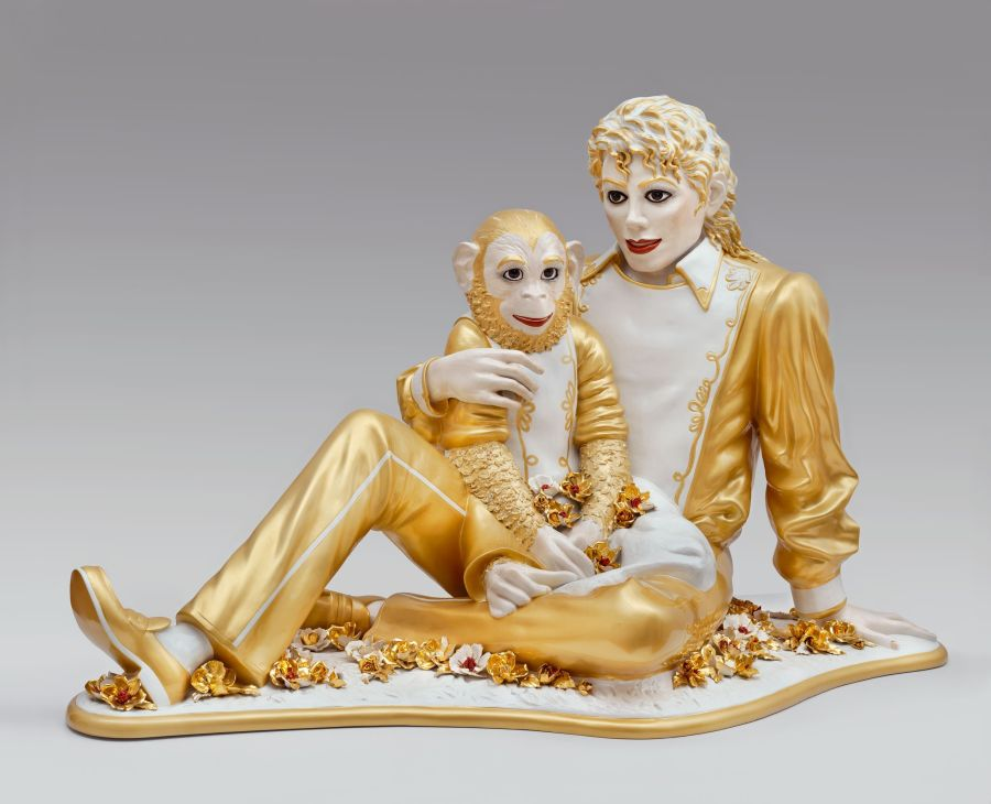 Jeff Koons,  Michael Jackson and Bubbles , 1988, Porcelain