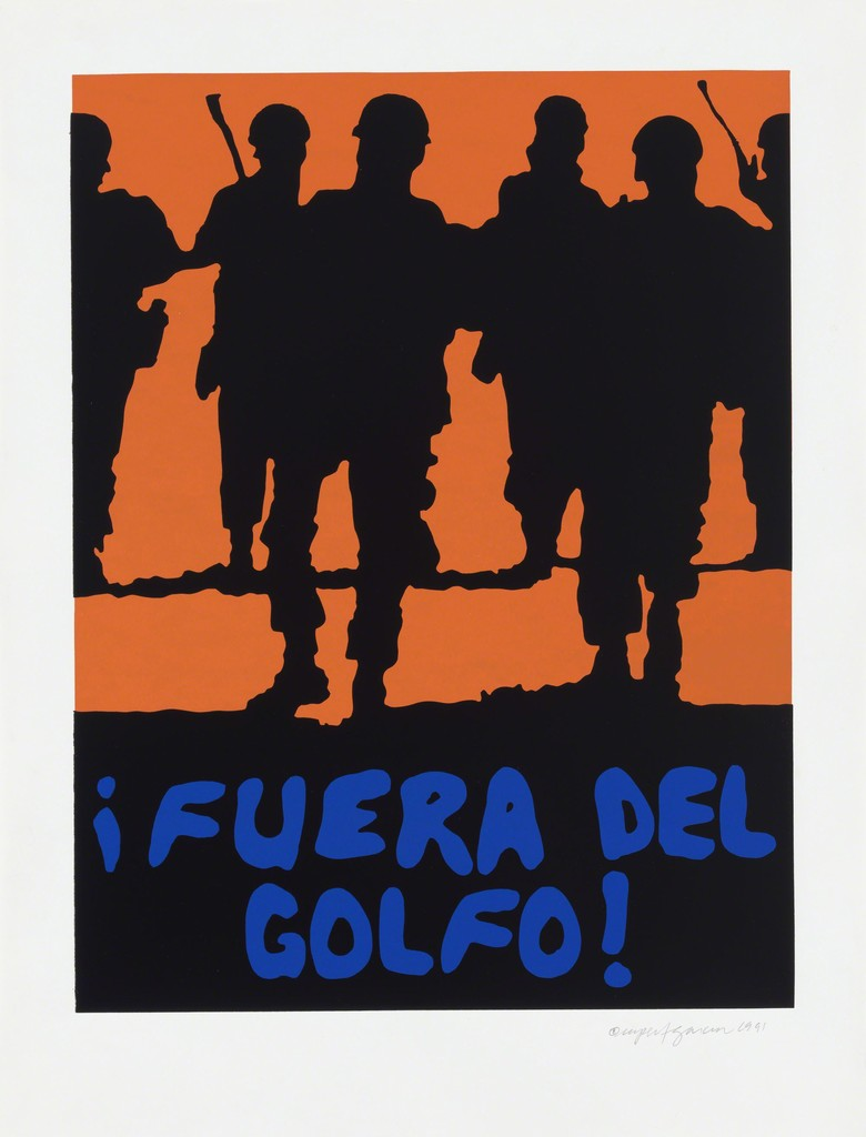 Rupert Garcia,  ¡Fuera del Golfo! , 1991, Screen print. Garcia is another artist associated with the Chicano Movement.