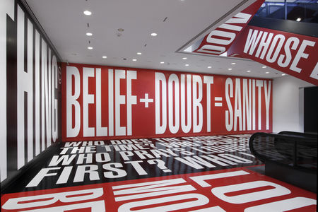 Barbara Kruger,  Belief + Doubt , 2017, installation at the Hirshhorn Museum