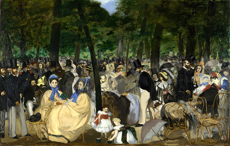 Edouard Manet,  Music in the Tuileries,  1862. Oil on canvas. Image of the flaneur in 19th c. France.