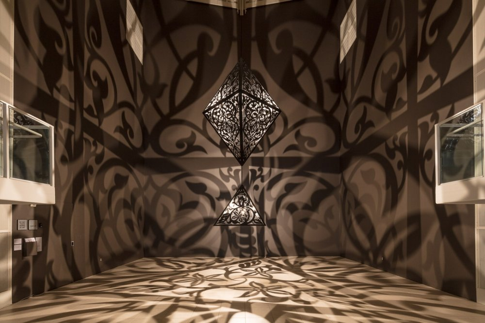Anila Quayyum Agha, The Greys in Between , Site-Specific Installation at MOCA Jacksonville, 2018