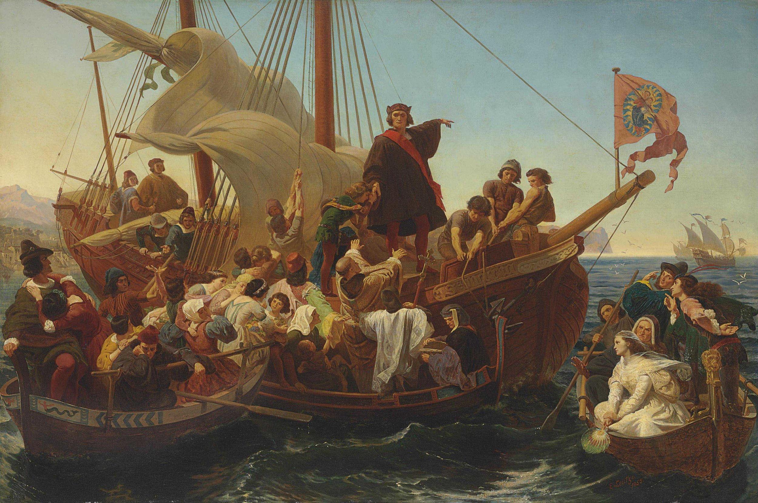 Emanuel Leutze,  Departure of Columbus from Palos in 1492 , 1855