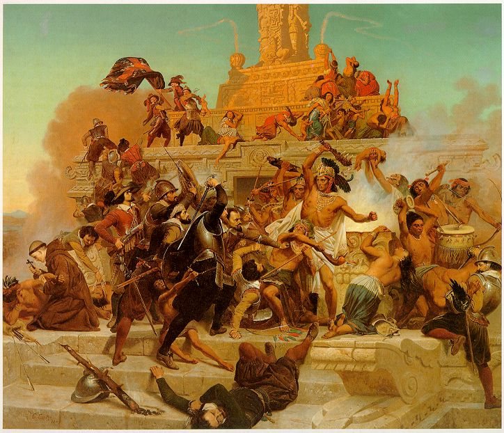 Emanuel Luetze,  The Storming of the Teocalli by Cortez and his Troops,  1848