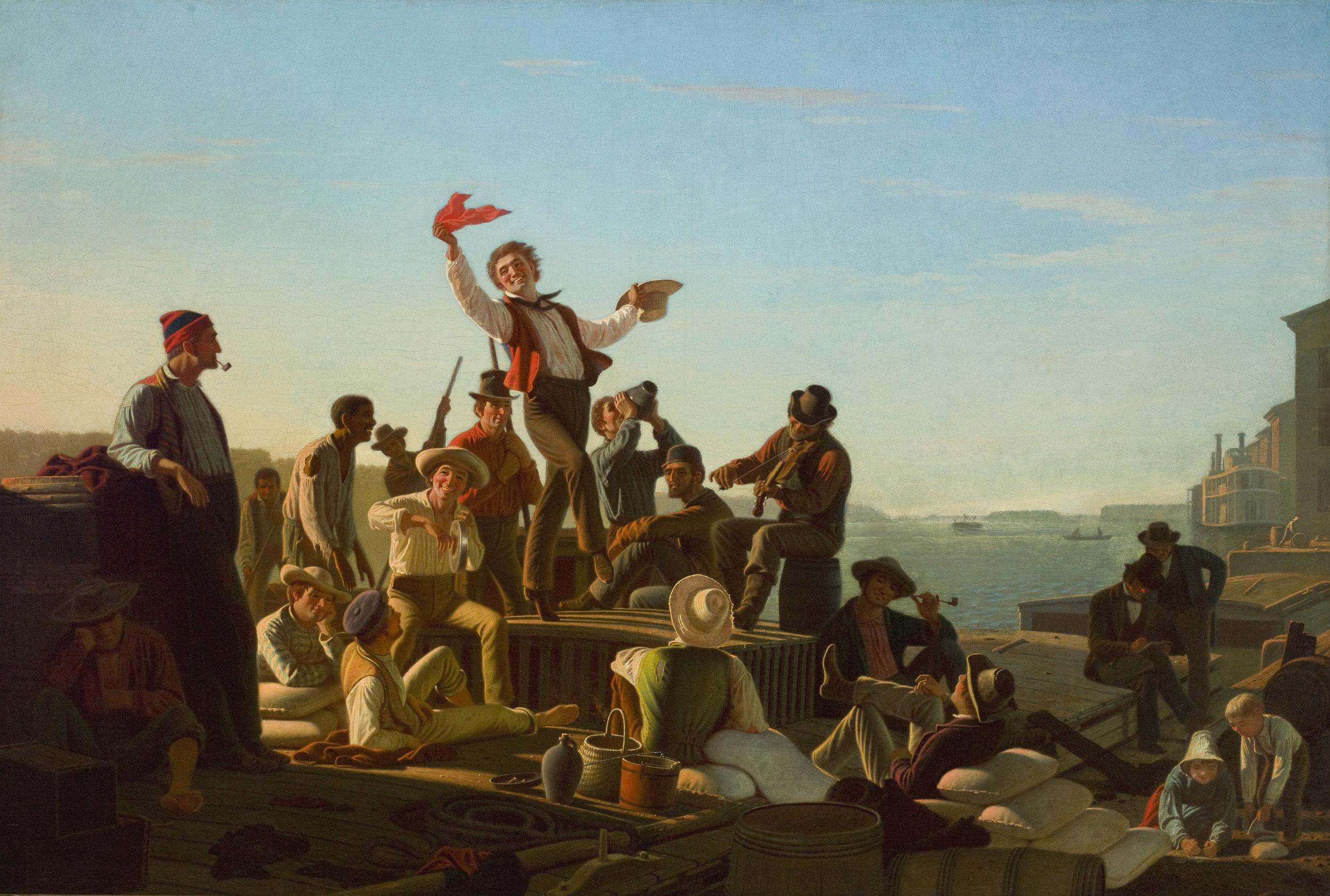 George Caleb Bingham, American, 1811–1879; J olly Flatboatmen in Port , 1857