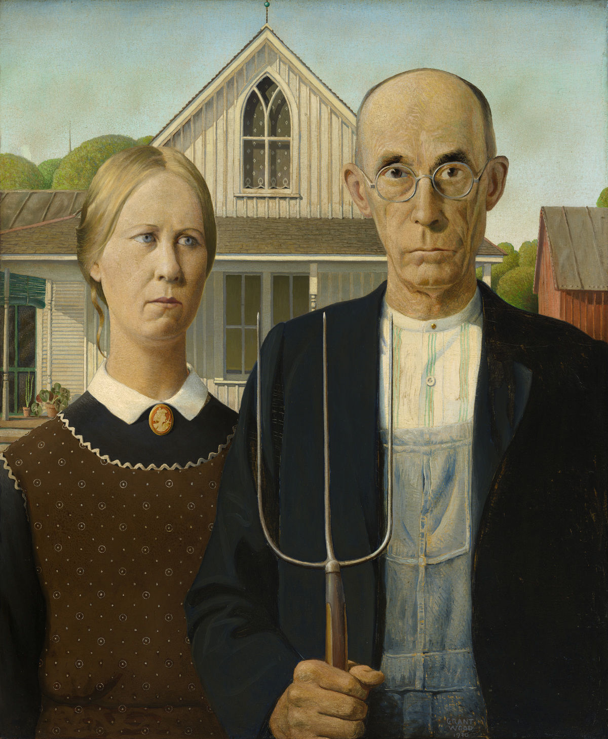 Grant Wood,  American Gothic , 1930, oil on canvas