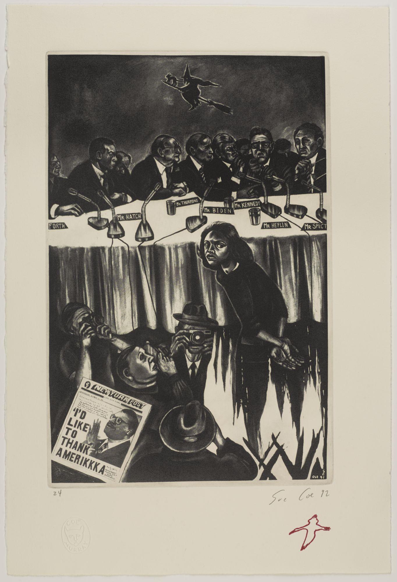 Sue Coe (born Tamworth, Staffordshire, United Kingdom, 1951).  Untitled (Anita Hill Trial) , 1992. Etching on paper, 20 x 13 ¼ in. (50.8 x 33.7 cm). Brooklyn Museum; Gift of Marco Nocella, 2012.90. © Sue Coe. Courtesy Galerie St. Etienne, New York. (Photo: Jonathan Dorado, Brooklyn Museum)