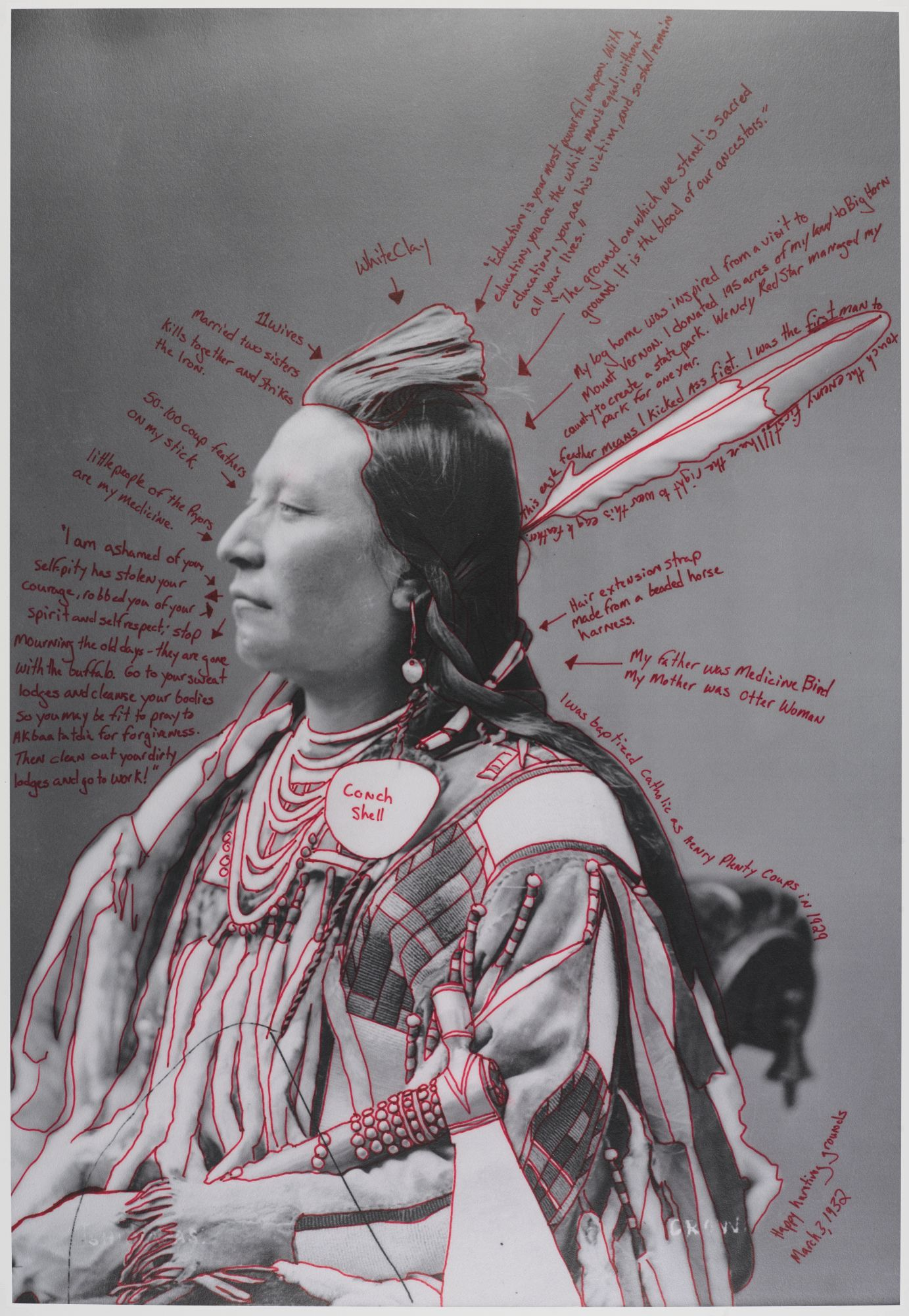 Wendy Red Star (Apsáalooke (Crow), born Billings, Montana, 1981).  Alaxchiiaahush / Many War Achievements / Plenty Coups , 2014, from the series  1880 Crow Peace Delegation . Pigment print on paper, from digitally reproduced and artist-manipulated photograph by C.M. (Charles Milton) Bell, National Anthropological Archives, Smithsonian Institution, 25 × 17 in. (63.5 × 43.2 cm). Brooklyn Museum; Elizabeth A. Sackler Center for Feminist Art, Gift of Loren G. Lipson, M.D., TL2018.8.5a–b. © Wendy Red Star. (Photo: Jonathan Dorado, Brooklyn Museum)