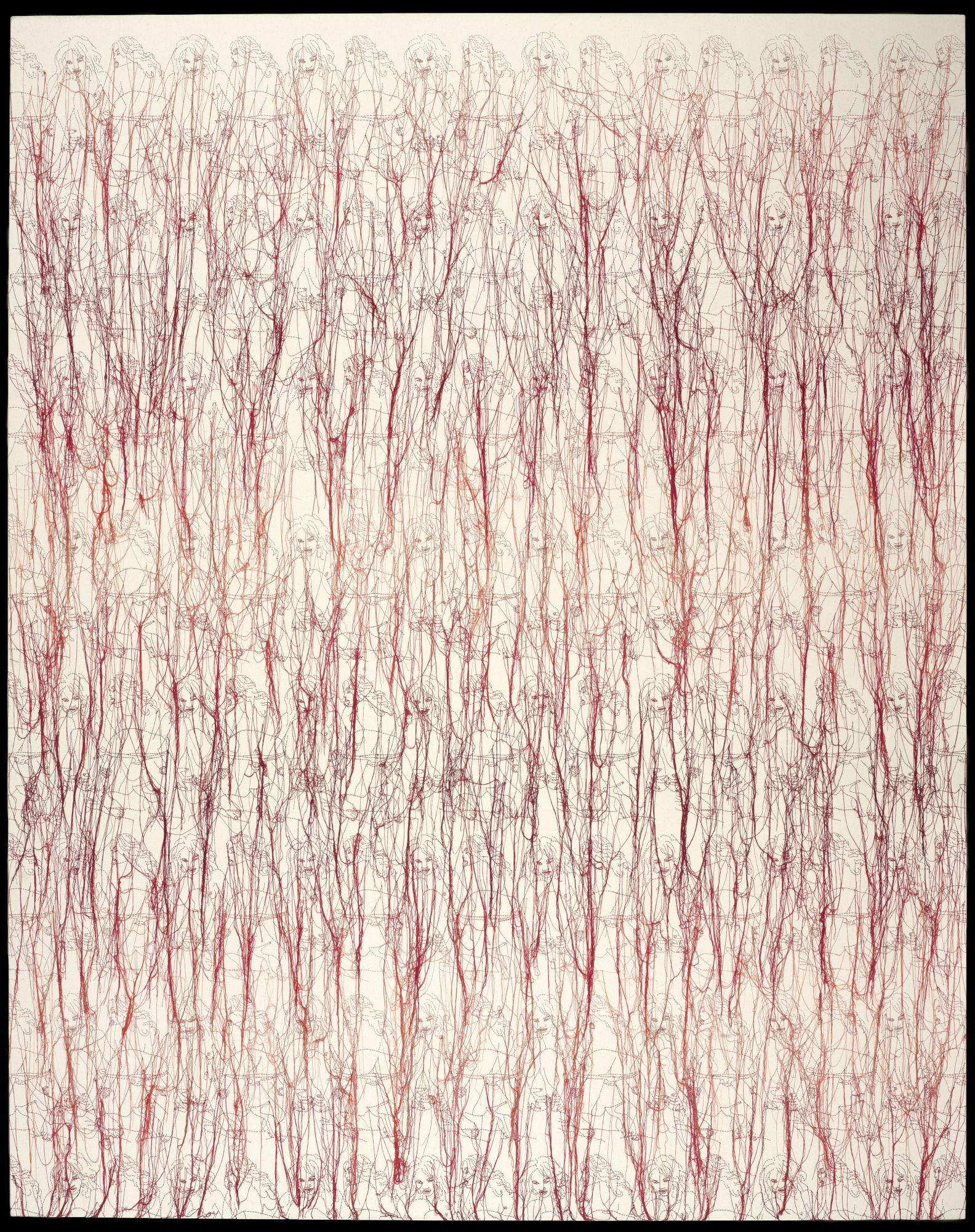 Ghada Amer (born Cairo, Egypt, 1963).  Heather's Dégradé,  2006. Embroidery and gel medium on canvas, 78 x 62 in. (198.1 x 157.5 cm). Brooklyn Museum; Elizabeth A. Sackler Center for Feminist Art, Frank L. Babbott Fund, Mary Smith Dorward Fund, William K. Jacobs, Jr. Fund, and Florence B. and Carl L. Selden Fund, 2013.50.1. © Ghada Amer. Courtesy Cheim & Read, New York. (Photo: Sarah DeSantis, Brooklyn Museum)