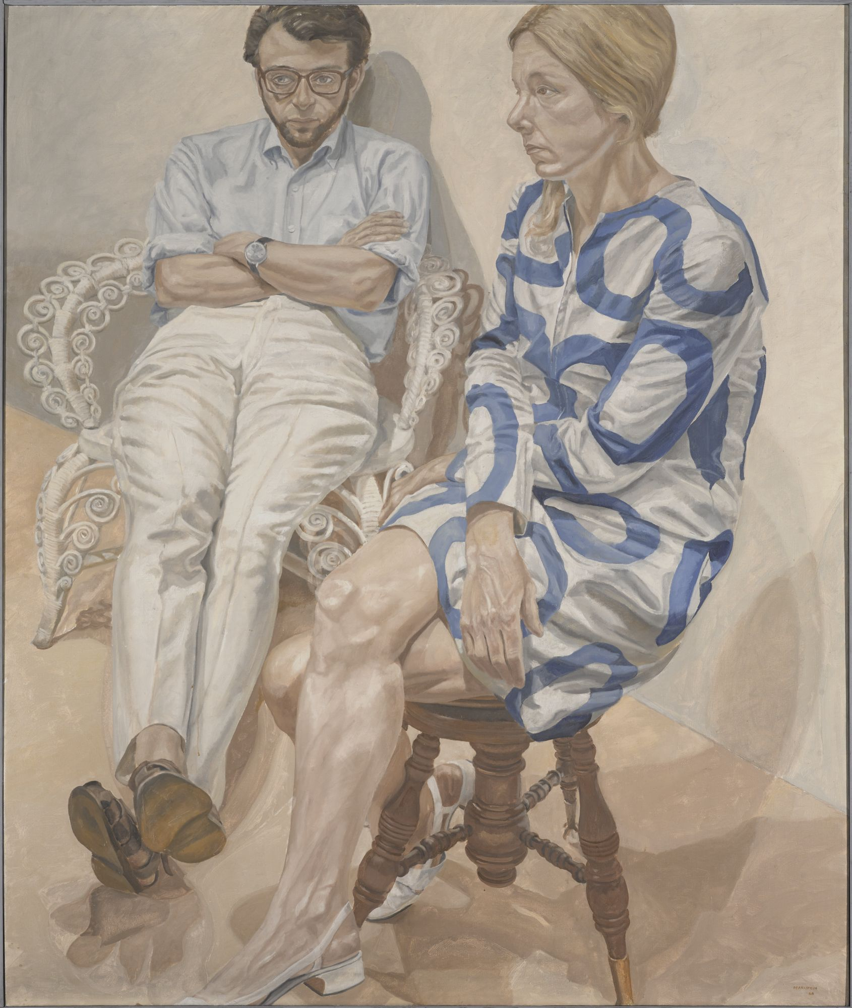 Philip Pearlstein (born Pittsburgh, Pennsylvania, 1924).  Portrait of Linda Nochlin and Richard Pommer , 1968. Oil on canvas, 72 × 60 in. (182.9 × 152.4 cm). Brooklyn Museum; Elizabeth A. Sackler Center for Feminist Art, Gift of the Estate of Linda Nochlin Pommer, TL2018.12. © Philip Pearlstein. (Photo: Jonathan Dorado, Brooklyn Museum)