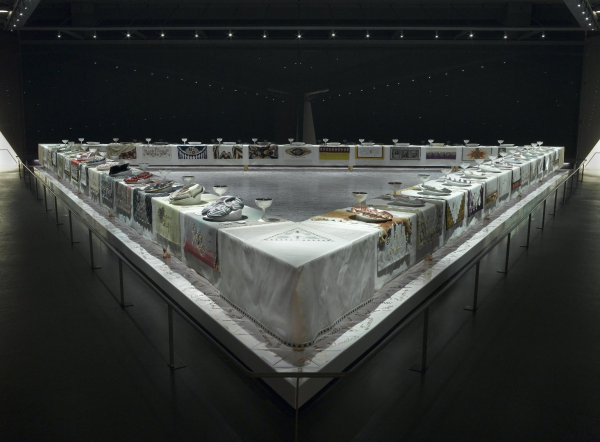 Judy Chicago (American, born 1939).  The Dinner Party , 1974–79. Ceramic, porcelain, textile, 576 × 576 in. (1463 × 1463 cm). Brooklyn Museum, Gift of the Elizabeth A. Sackler Foundation, 2002.10. © Judy Chicago. (Photo: Donald Woodman)