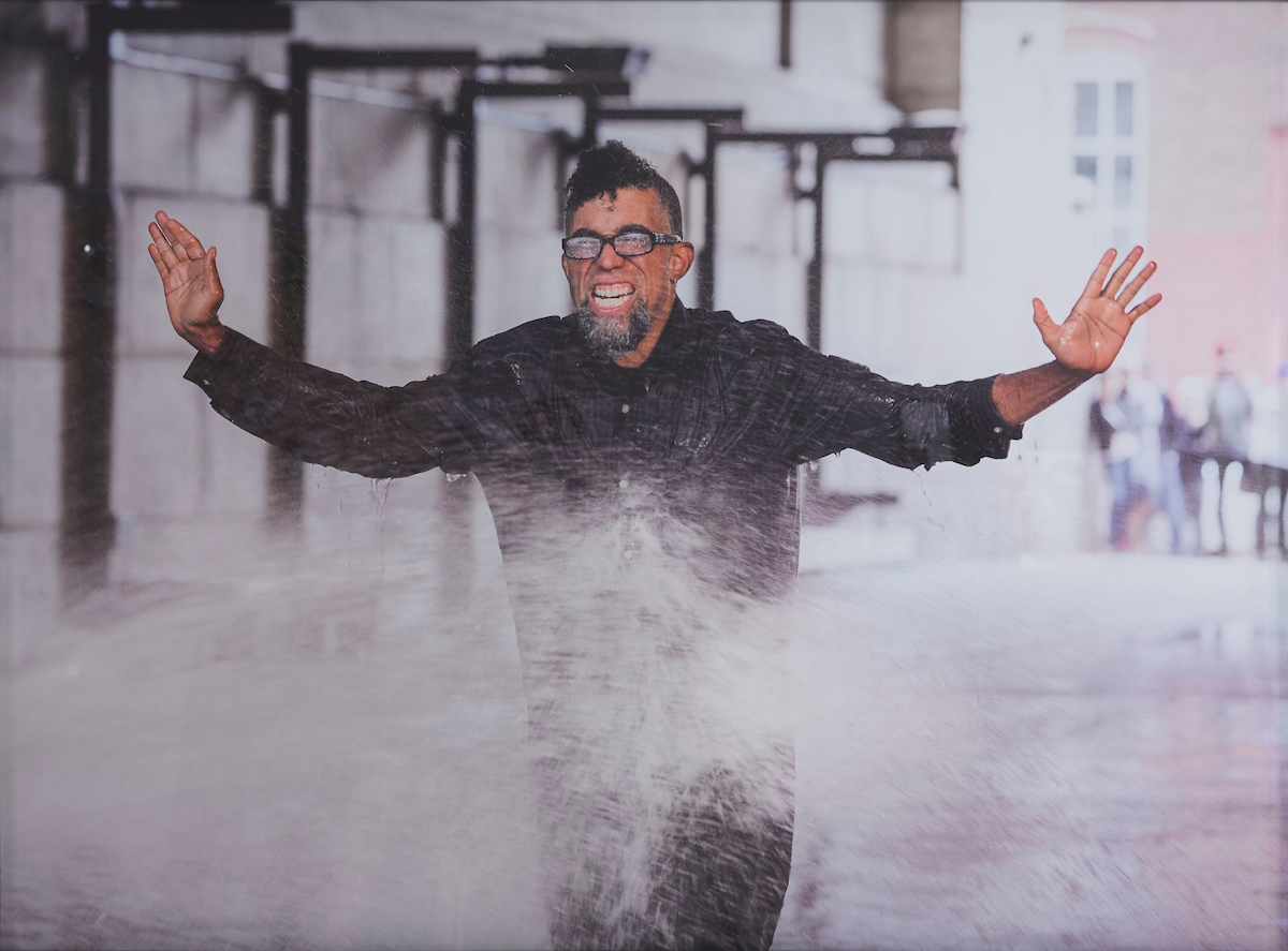 Dread Scott (born Chicago, Illinois, 1965).  On the Impossibility of Freedom in a Country Founded on Slavery and Genocide , performance still, 2014. Pigment print, 22 x 30 in. (55.9 x 76.2 cm). Project produced by More Art. Brooklyn Museum; Elizabeth A. Sackler Center for Feminist Art, Gift of the Contemporary Art Acquisitions Committee, 2016.25.2. © Dread Scott. (Photo: Mark Von Holden Photography. © Dread Scott)
