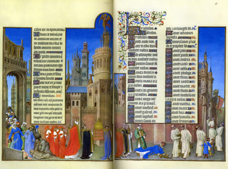 The Procession of Saint Gregory  painted by the Limbourg Brothers in 1300