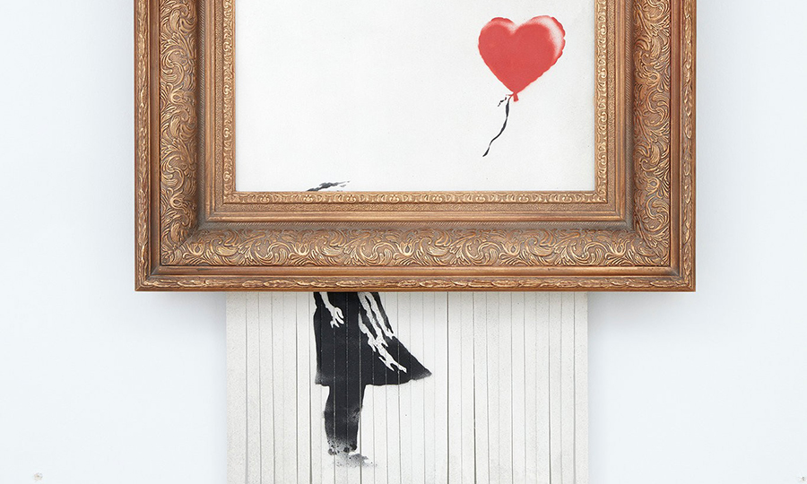 Banksy,  Girl with the Balloon , renamed  Love Is in the Bin , after it self-destructed at a Sotheby's auction on October 5, 2018.