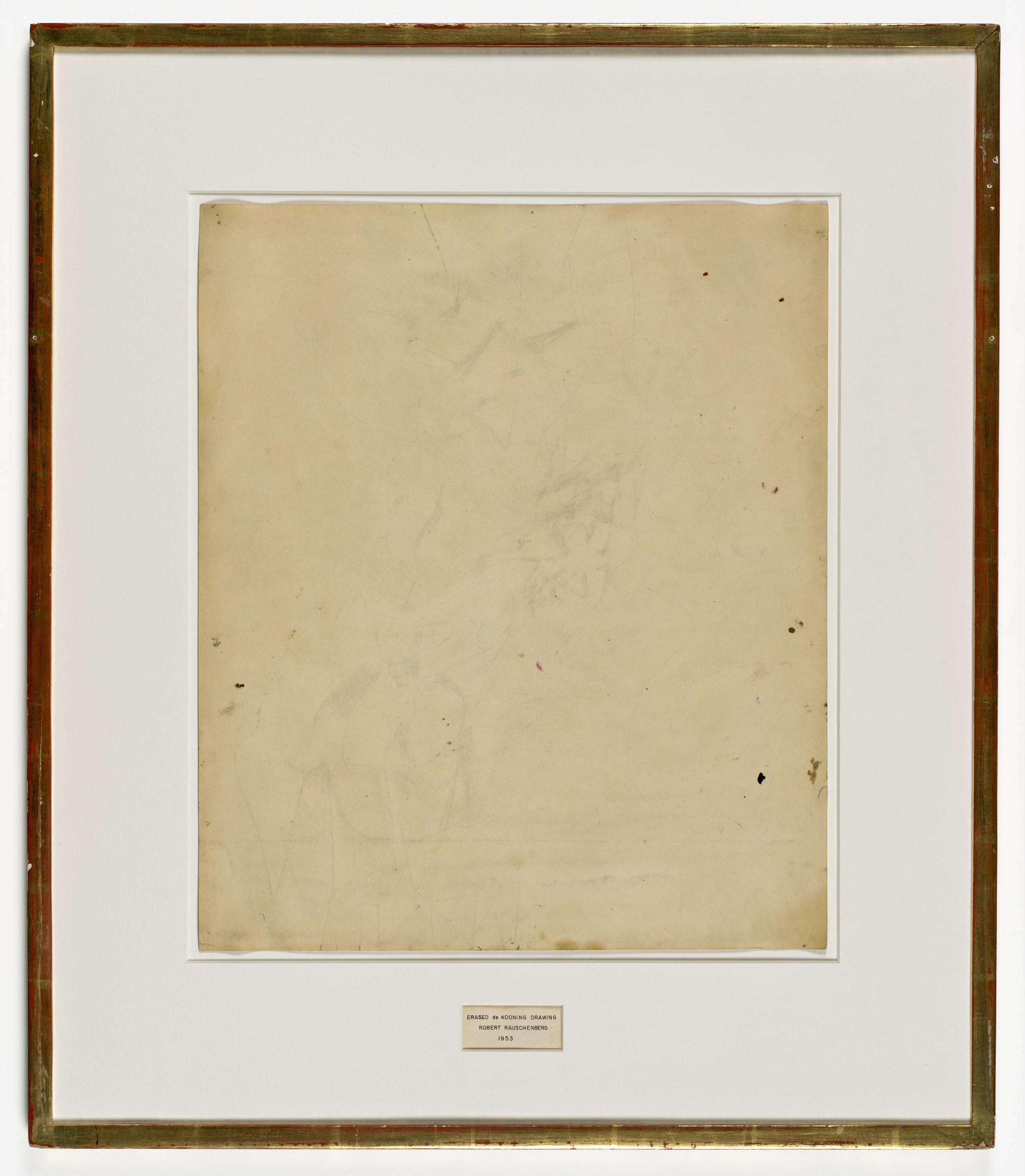 Robert Rauschenberg,  Erased de Kooning Drawing , 1998, traces of drawing media on paper with label and gilded frame. Collection of SFMoMA