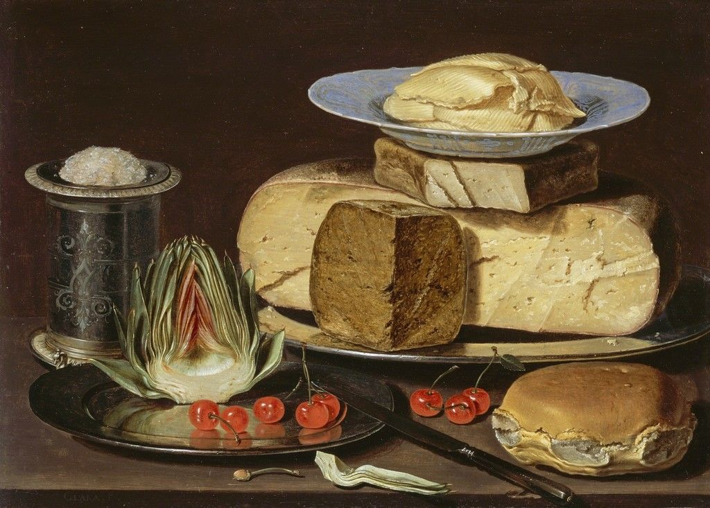 Clara Peeters, Still Life with Cheeses, Artichoke, and Cherries, ca. 1625, Los Angeles County Museum of Art