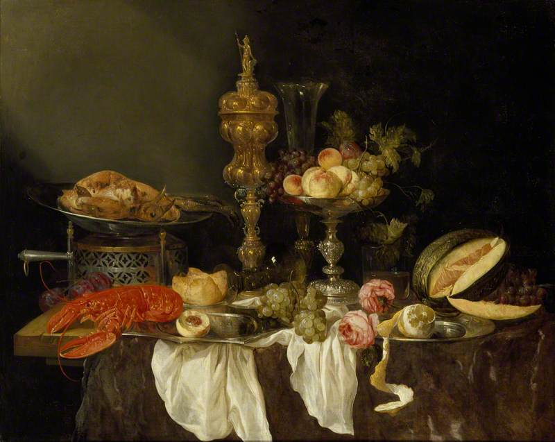Abraham van Beyeren, Still Life with a Lobster and Turkey