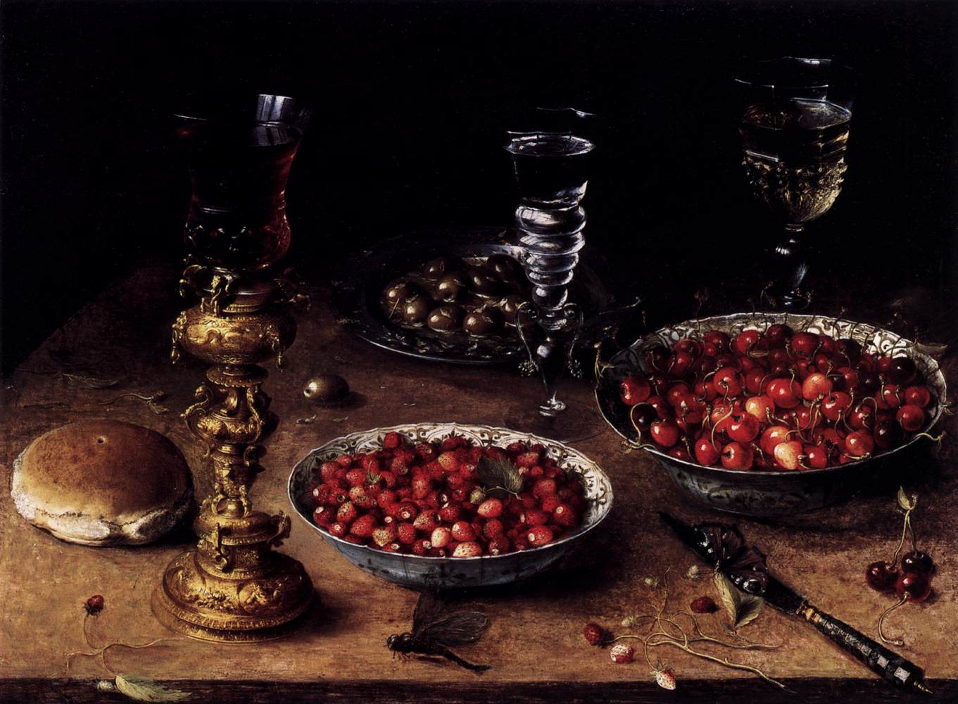Osias Beert the Elder, Still-Life with Cherries and Strawberries in China Bowls, 1608