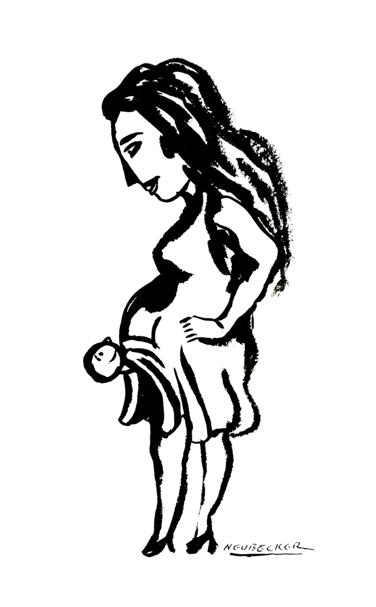 Older drawing, done of my wife as a birth announcement with the old 994 brush. I do miss it sometimes, especially it's freshness. Digital is slower and more deliberate. To a certain extent, technique determines style, so new ways of drawing are opening up as I explore this new toolbox.  Thanks, RN