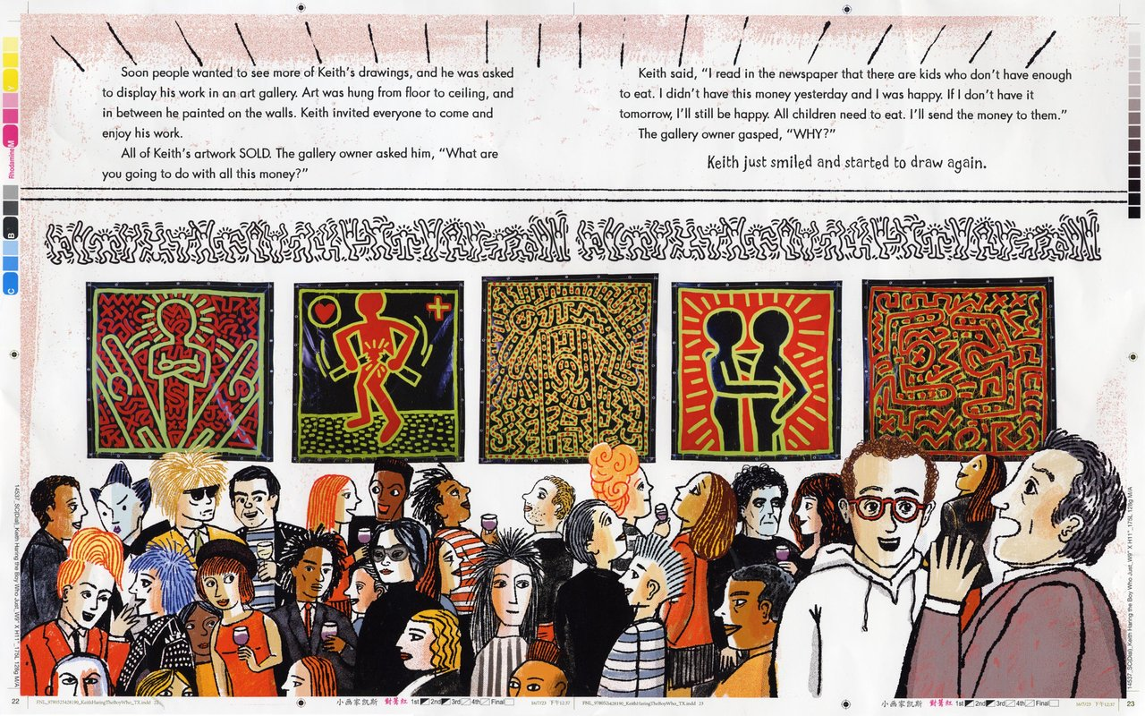 I wasn't at this opening, but everybody heard about it. I added a few people that I like, Klaus Nomi, Ann Magnuson (who I remain desperately in love with-I'll never forget the Lower East Side Ladies Auxiliary from Club '57...) There's Lou Reed and Jeni Muldaur, his bandmate. There's John Sex, Basquiat, Yoko, Grace Jones, and next to Andy, my dear friend Ronnie Cutrone, who worked as Andy's assistant for ten years and died too young. I kinda had to draw Shafrazi, Keith's dealer, although I never forgave him for vandalizing Guernica. Yeah, that Guernica.
