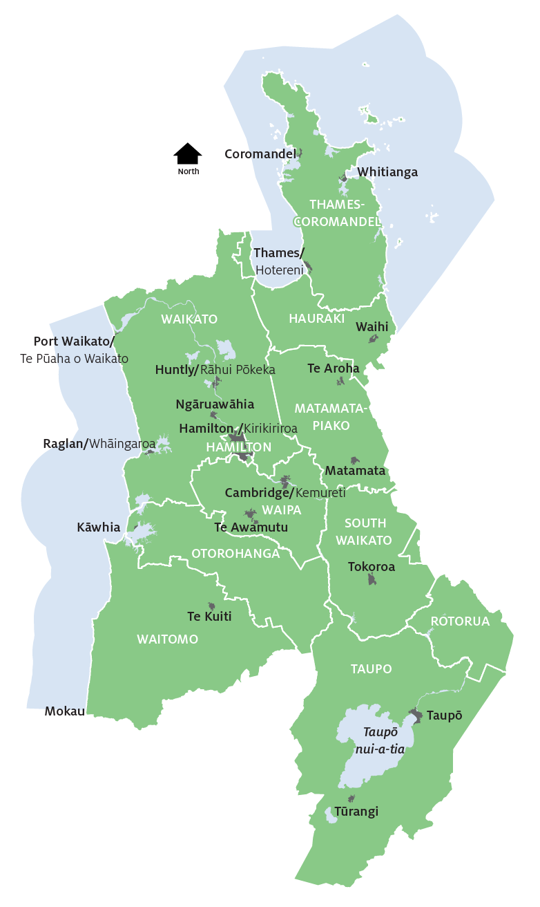 If you're in the green area, we're talking to you! - Apart from being in the Waikato Region, you'll also be classed as living in either Hamilton City or one of the surrounding districts. City councils serve larger urban areas and district councils serve a mix of rural and urban communities. So in this case, if you live within the boundaries of Hamilton City, you'll be served by Hamilton City Council, and if you don't (but still live in the Waikato Region), you'll be served by one of the 10 district councils – which are indicated by the white capital letters on the map.