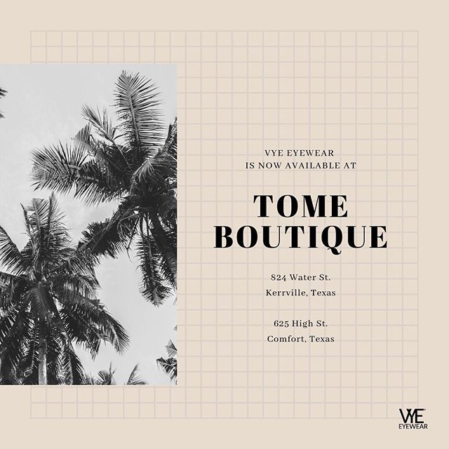 We are thrilled to announce another special boutique that will now be selling our eyewear! Welcome to the #VyeFam @tomeboutique ! Thank you to Tomasa for your support of our brand! ❤️ . . . .  #vyeeyewear #repost #summer #summerfashion #fashion #sunglasses #vyelife #ootd #ootdshare #instagood #wiw #wiwt #darling #LTKI #LTKSummer #LTKStyle #LTKUnder100 #liketkit #LTKtravel #ltkstyletip