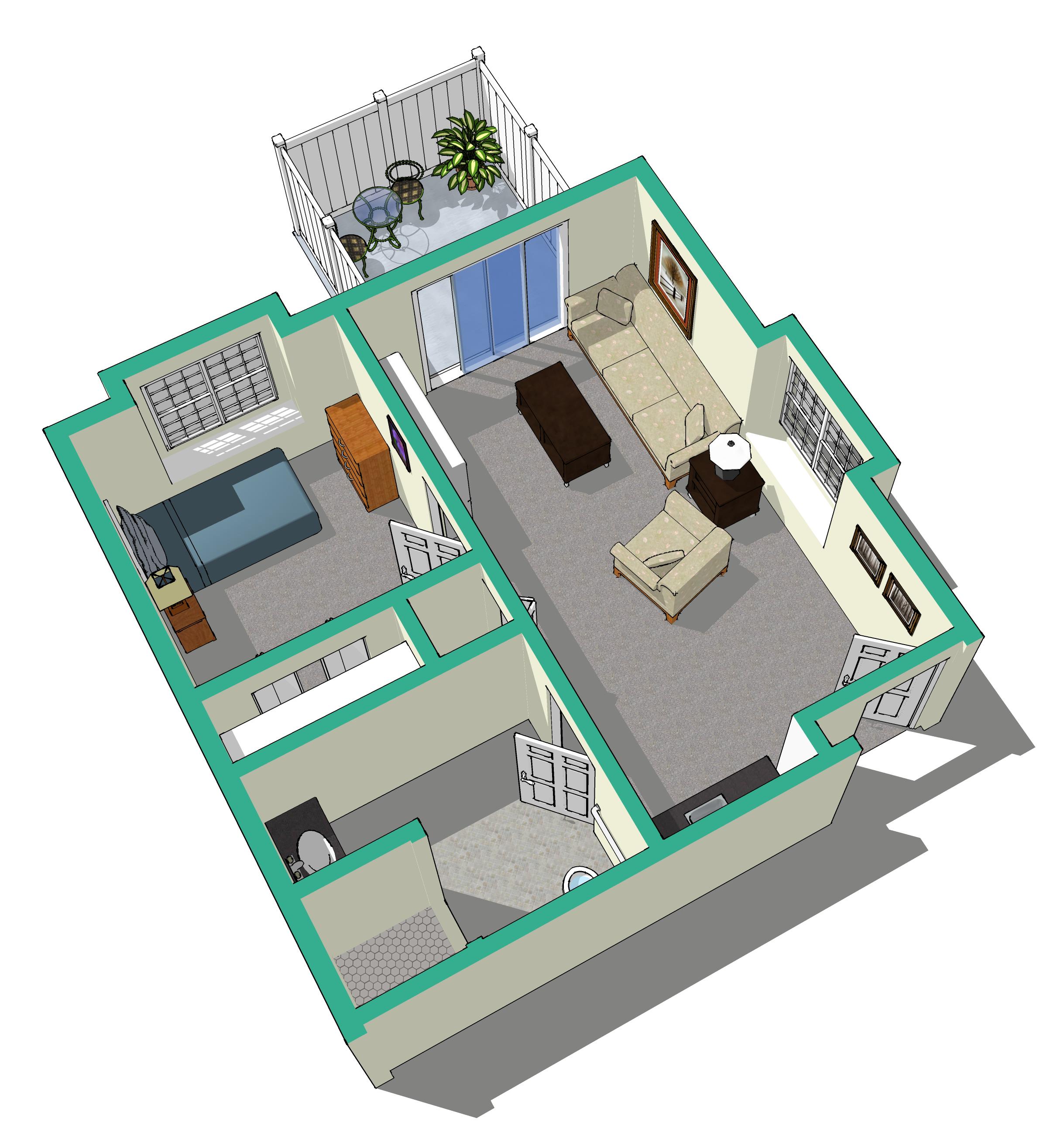 one bedroom walkout suite