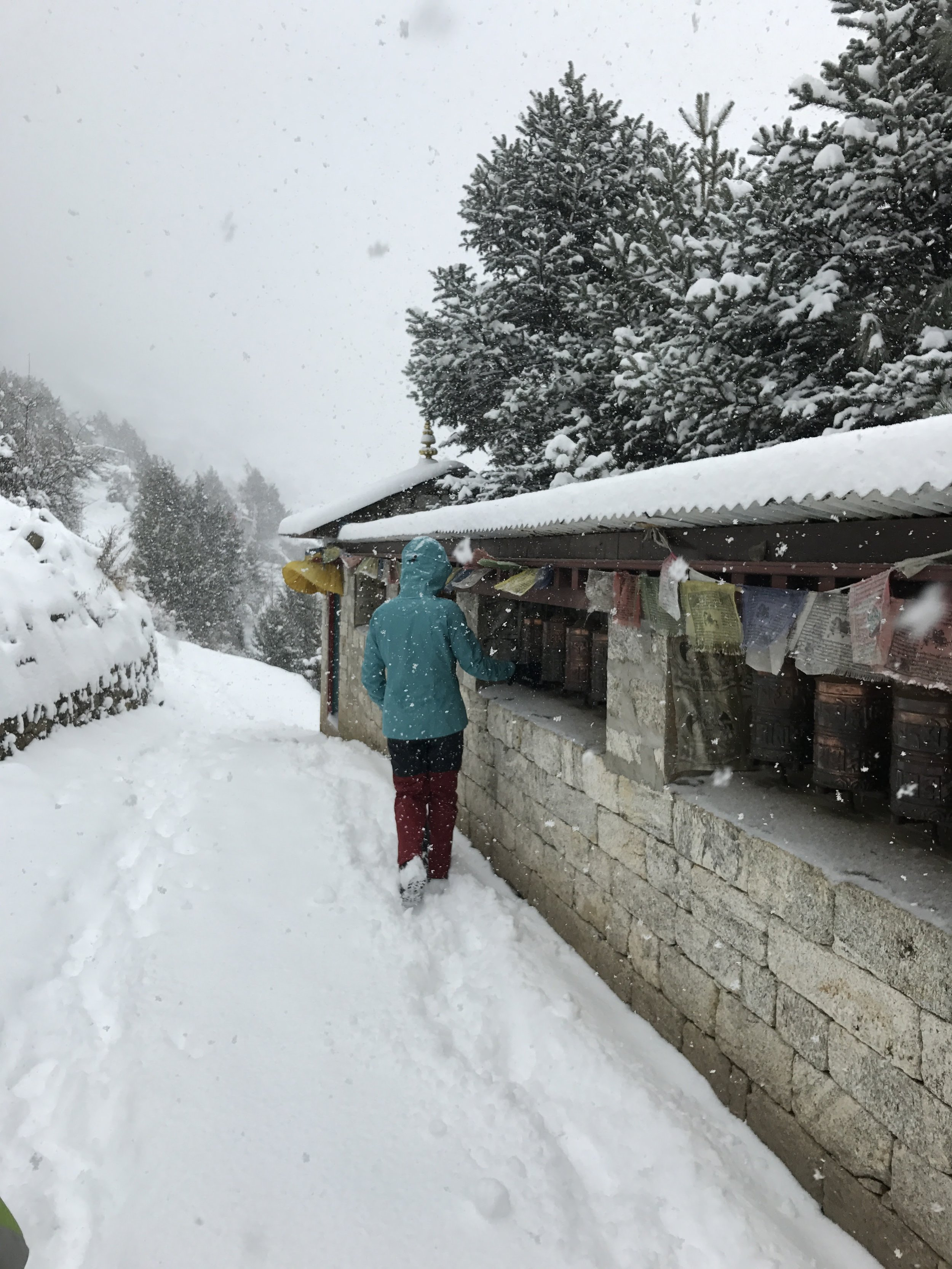 "During our time in Namche it snowed 18"" in a day. I never thought I'd be able to say I was caught in a Himalayan snowstorm!"