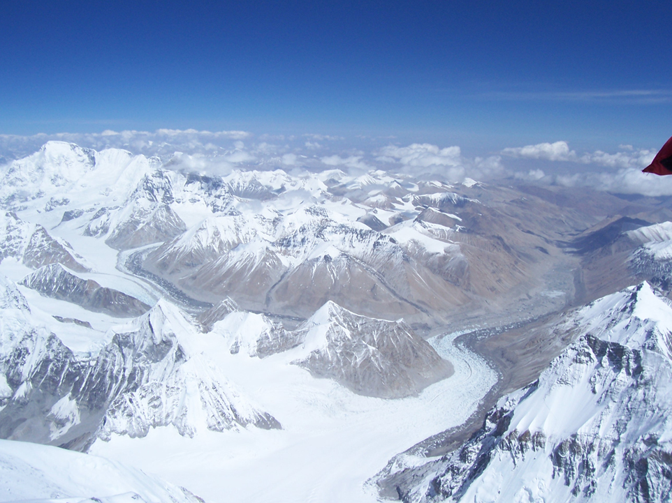 The view from the summit of Everest.