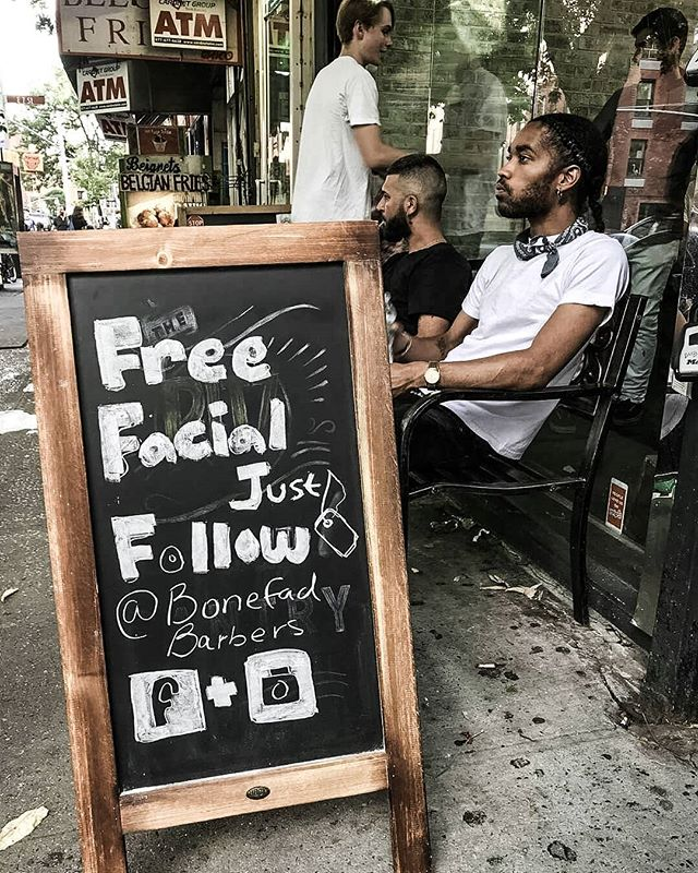 BONEFADE PROMOTION! 💀💈Come on in for a FREE FACIAL every Mon, Tue, Wed till 5 pm💀 You just need to follow us on Instagram, check in on Facebook or post a pic tagging us 😉 Happy Friday everyone!  #bonefade #bonefadebarbers #professionalbarbers #eastvillagebarbershop #bestbarbers #manhattanbarbers #skincare #facials #eastvillagenyc #nyclife #barberlifestyle #lifestyle #haircut #hairdo #stylish #fresh #promotion #freefacials #bestdeal #fridaynightlights #fridayfunday