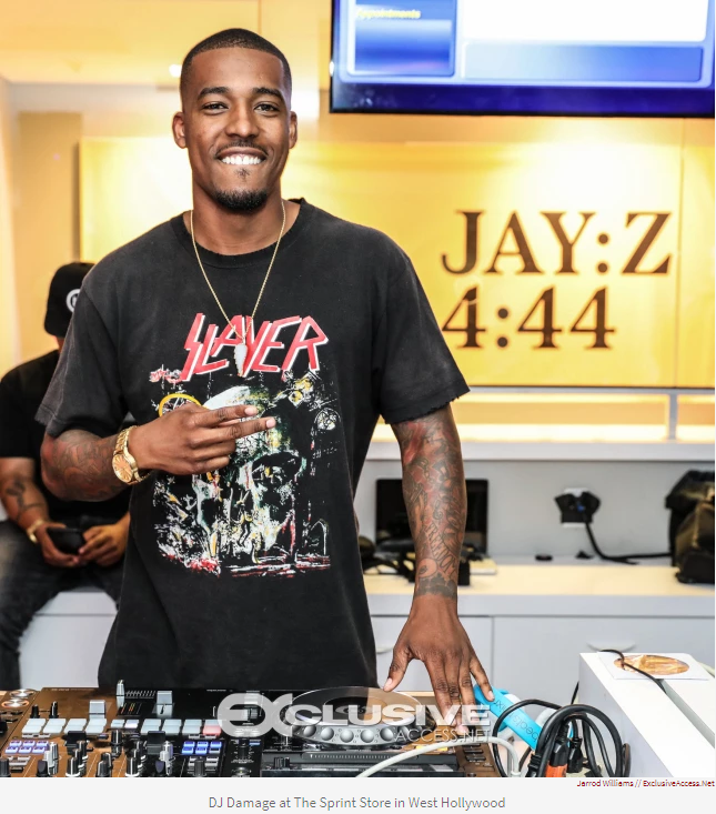 DJ Damage at The Sprint Store in West Hollywood- photo credit: Jarrod Williams/Exclusive-Access.net | Source: https://revolt.tv/stories/2017/07/02/jay-drops-444-invites-public-thier-local-sprint-store-preview-07004c07cd   Note: I do not own the rights to this image, if you re-post, please cite properly.